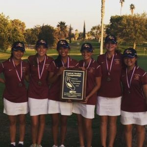 Photo courtesy of Clovis West The Clovis West girls golf team captured the D-1 Central Section Valley championship on Oct. 26. It was the Golden Eagles third consecutive Valley championship. Members include: Aya Enkoji, Madison Nii, Alyson Musser, Taylor Dufrene, Kayla Terrey, Tia Montes.