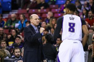 "Photo courtesy of Sacramento Kings Vance Walberg enjoys what the NBA has to offer and the lifestyle that it brings. ""I'm up to practice at 6:15 a.m. and then home at 10:30 p.m. on game days. It's pure basketball,"" says Walberg. But he admits his favorite period of coaching was at the high school level, including Clovis West High School."