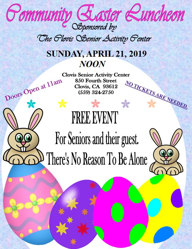 Clovis Senior Community Easter Luncheon @ Clovis Senior Activity Center | Clovis | California | United States