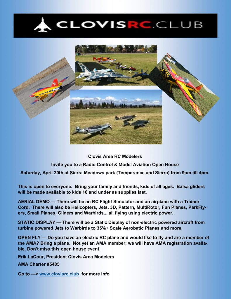 Clovis RC Club Open House @ Sierra Meadows Park | Clovis | California | United States