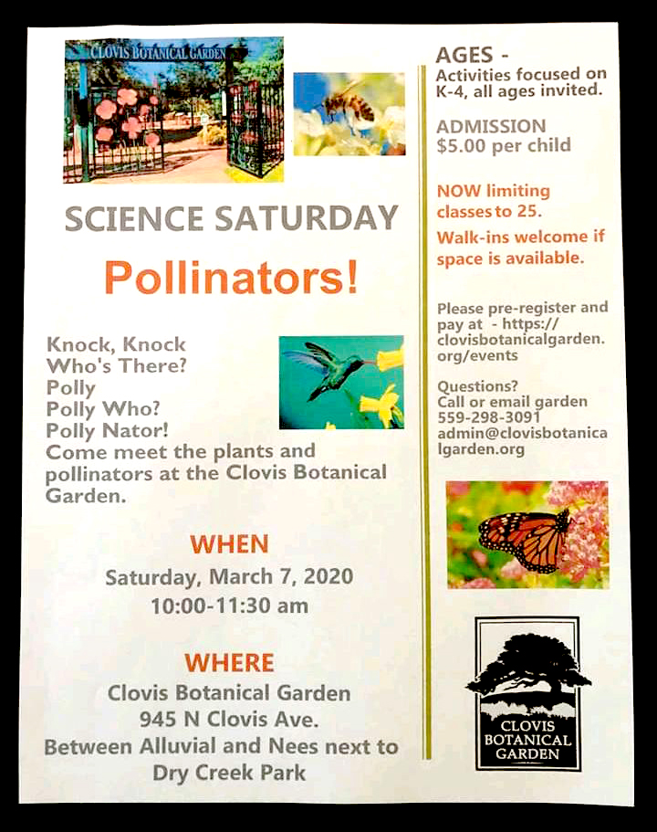 Science Saturday: Pollinators! @ Clovis Botanical Garden | Clovis | California | United States